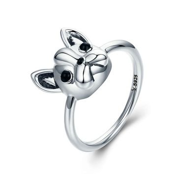 Sterling Silver Loyal Partners French Bulldog Dog Ring