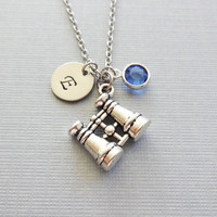 Binoculars Necklace, Birdwatcher Gift, World Traveler, Silver Initial, Swarovski Birthstone, Personalized, Monogram, Hand Stamped Letter