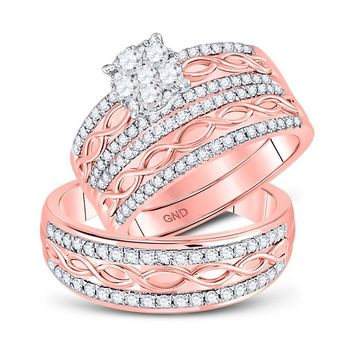 10kt Rose Gold His & Hers Diamond Cluster Twist Matching Bridal Wedding Ring Band Set 1.00 Cttw