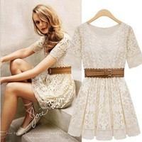 Hollow Out Embroidered Lace Dress