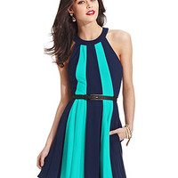 XOXO A-Line Colorblocked Belted Dress