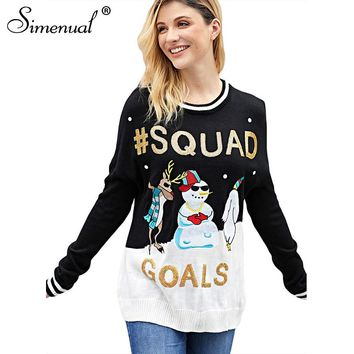 Simenual Sequined christmas sweater women jumper snowman santa tree funny womens sweaters 2018 winter fashion knitted pullovers