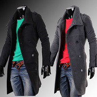 Trendy Fashion Mens Double Breasted Long Wool Coat