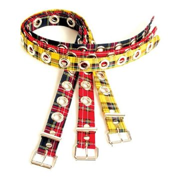 "Red & Black Plaid 1-Row Silver Eyelet Grommet Leather Belt 1-3/4"" Wide"