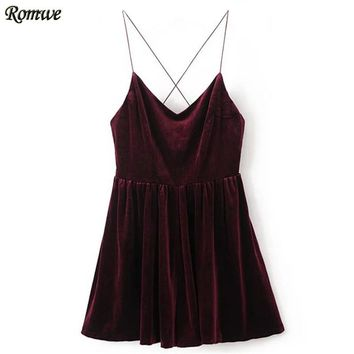 ROMWE Rompers Womens Jumpsuit Sexy Clubwear Jumpsuits Ladies Sleeveless Spaghetti Strap Cross Back Velvet Romper