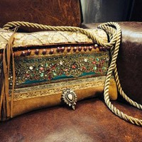 Ethnic cross body bag in puma leather, unique piece, made in France Handmade