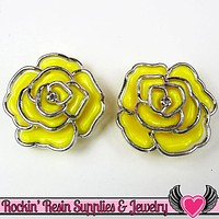 Silver Edge Frame Yellow Acrylic Rose Beads 34mm 2 hole beads (5 pieces)
