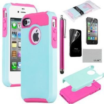 iPhone 4S Case, iPhone 4 Case, ULAK Fashion Armor Case for iPhone 4S and iPhone 4 Cover with Screen Protector and Stylus (Light Blue/Magenta)