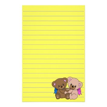 Cute Baby Bears Graphic, Lined Stationery