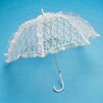 White Lace Parasol Umbrella Bridal Accessories, 34-inch