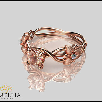 14K Rose Gold Morganite Ring,Designer Engagement ring,Flower Ring,Wedding Rings,Promise Rings,Ladys Jewelry,Uniqe Engagement Ring,Leaf Ring.