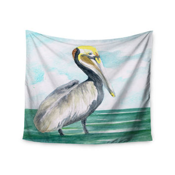 "Rosie Brown ""Pelican"" Coastal Watercolor Wall Tapestry"