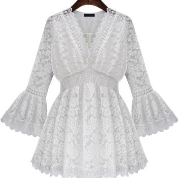 White V Neck Bell Sleeve Lace Ruffled Blouse