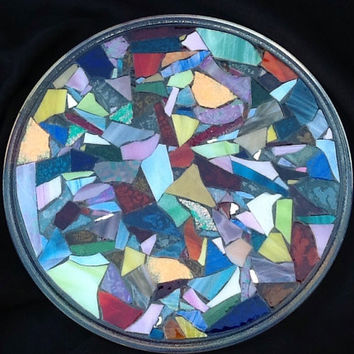 "Stained Glass mosaic Serving Tray 12"" OOAK Handcrafted"