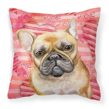 French Bulldog Love Fabric Decorative Pillow BB9775PW1818