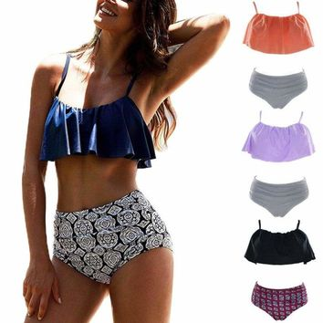 Women's Retro High Waisted Bikini Flounce Falbala Top Bathing Suits Swimwear US