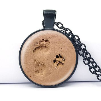 Dog Lover Necklace Dog Paw Pendant Paw Print Jewelry Paw and Footprint Pendant Gift for Dog Lover Gift 10 Pcs/Lot black