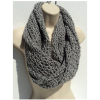 CROCHET PATTERN ONLY - 4 Patterns in 1 - Simple Elegance - Mobius Infinity Scarf, Neck Scarf and Shawl - grey view