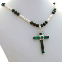 Malachite Stone Cross Fresh Water Pearl Designer Pendant Necklace
