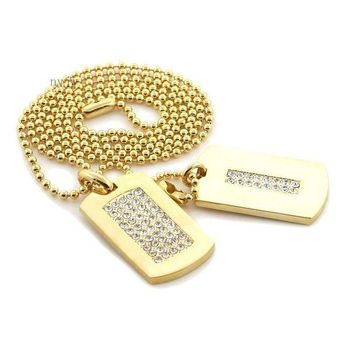 ONETOW NEW ICED OUT HIP HOP DOUBLE DOG TAG 18k GOLD FILLED W 30' BALL CHAINS DTC002GS