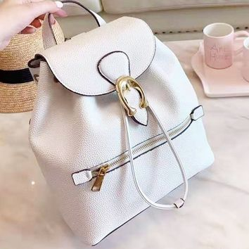 Coach hot seller of women's casual shopping bag with fashionable printing and color stitching backpacks White
