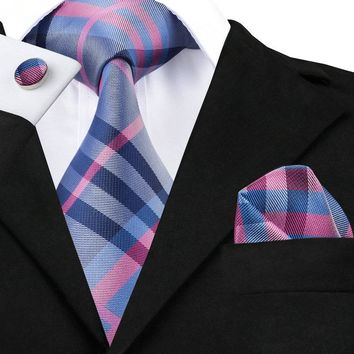SN-467 Darkgray Pink Blue Plaid Tie Hanky Cufflinks Sets Men's 100% Silk Ties for men Formal Wedding Party Groom