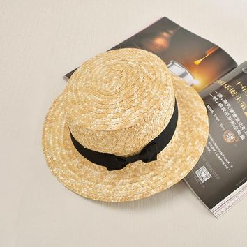 summer Flat sun hats for women chapeau feminino straw hat panama style cappelli Side with bow Beach bucket cap girl topee
