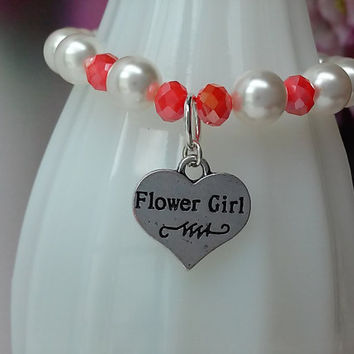 Tangerine Orange Flower Girl Charm Bracelet, Kids Childrens Baby Girl Flowergirl Gift,Wedding Bridal Jewelry Jewerly
