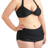 Esther Williams Rockabilly Halter High Waist Bathing Beauty Two-Piece Swimsuit in Black - Plus