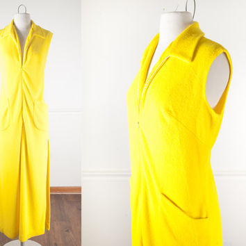 Vintage 70s Swim Cover Up / Vintage Yellow Dress / 70s Kaftan / Terry Cloth Robe / Maxi Dress / Vintage 70s Dress / Beach Cover Up