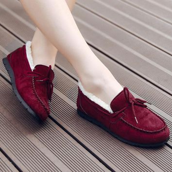Warm thickening doug shoes with velvet flats lazy loafers Wine red
