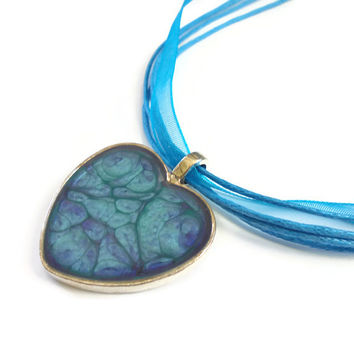 Heart Pendant Necklace in turquoise and violet