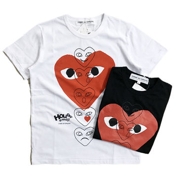 Short Sleeve Emoji Cotton Couple Heart T-shirts [10233714631]