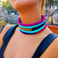 Cleo, Choker, Tribal Necklace, Tribal necklace, Statement Necklace, Rope Choker, African Necklace, Aztec Necklace, Chokers, African Jewelry