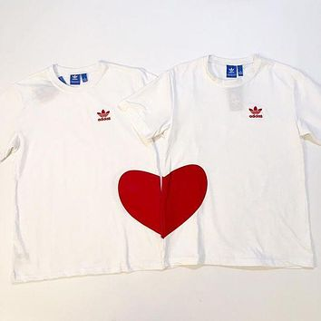 Adidas 2018 spring and summer men's and women's sweet T-shirt hearts together lovers simple white sweater