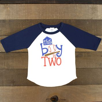 This Boy is Two 3/4 Navy Blue Raglan   Toddler This Boy is Two blue and White Raglan T Shirt   Two Year Old Shirt