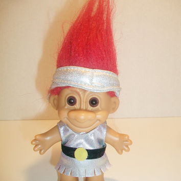 Vintage Russ Troll Doll Red Hair Brown Eyes Retro Gladiator Collectible Toy