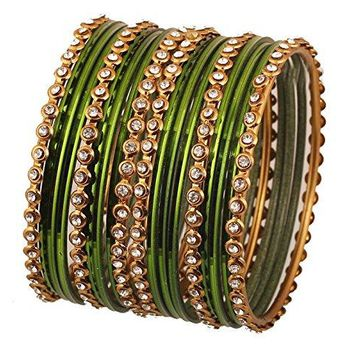 Touchstone Colorful Bangle Collection Indian Bollywood Alloy Metal Wrist Beautifier Designer Jewelry Bangle Bracelets Set of 18 In Antique Gold Tone For Women
