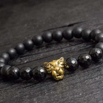 Matte black onyx beaded gold Leopard head stretchy bracelet with faceted onyx beads custom made yoga bracelet