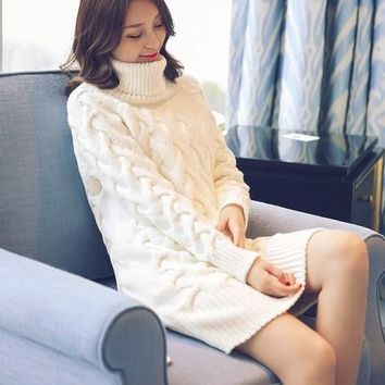 High-necked Sweater 2016 Women's Autumn and Winter New Korean Version Long Section Twist Thickening Loose Sweaters AXD1890