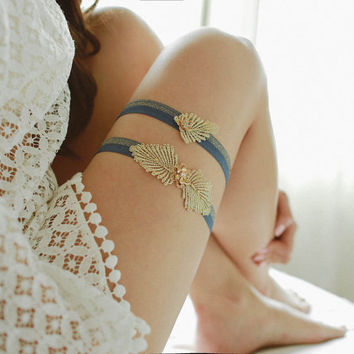 Gold garter set, blue garter, lace garter, wedding garter, something blue, bridal gift - style 465