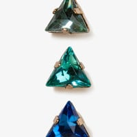Faceted Triangle Stud Set