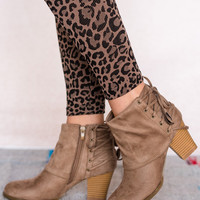 Lace Back Ankle Bootie In Taupe