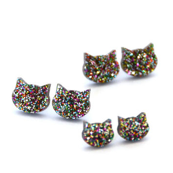 Glitter Cat Earrings - Rainbow Glitter