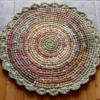 Hand Crocheted Round Rag Rug with Green Scalloped Border