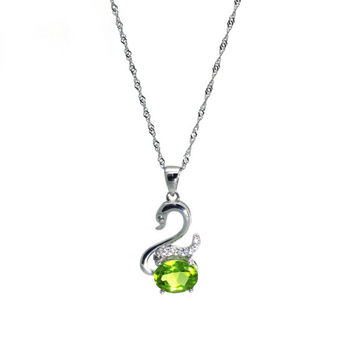 Silver Swan Pendant Necklace with Peridot - Semi-Precious Gemstone - 925 Sterling Silver - Perfect Gift for Swan Fans