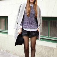 Sweater Oversized Grey Loose Knit Fall Winter Fashion Sweater