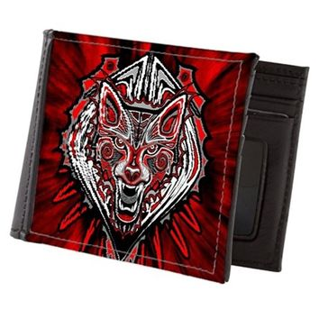 WOLF TATTOO STYLE HAIDA ART MENS WALLET