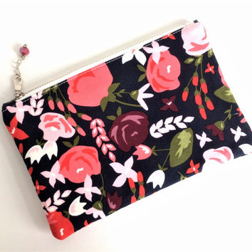 Floral Zipper Pouch, Navy Floral Makeup Bag, Coupon Holder, Accessory Bag, Pencil Pouch