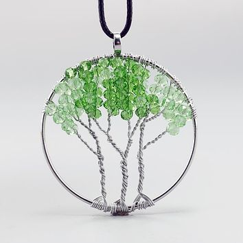 Green Crystal Tree of Life DIY Leather Chain Gravel Pendant Necklace